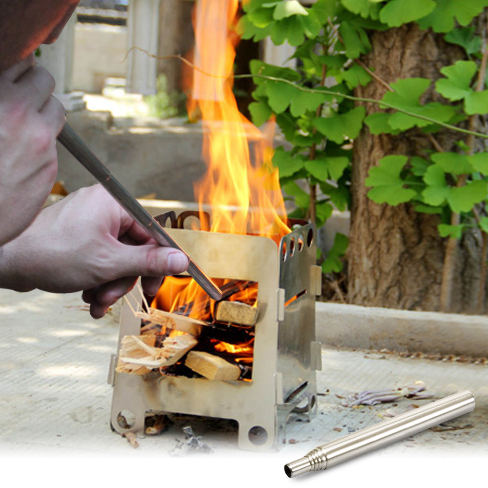 New Outdoor Portable Bellow Blow Fire Tube Bbq Camping Picnic Stove Collapsible Fire Tool Stainless Steel Camping Equipment