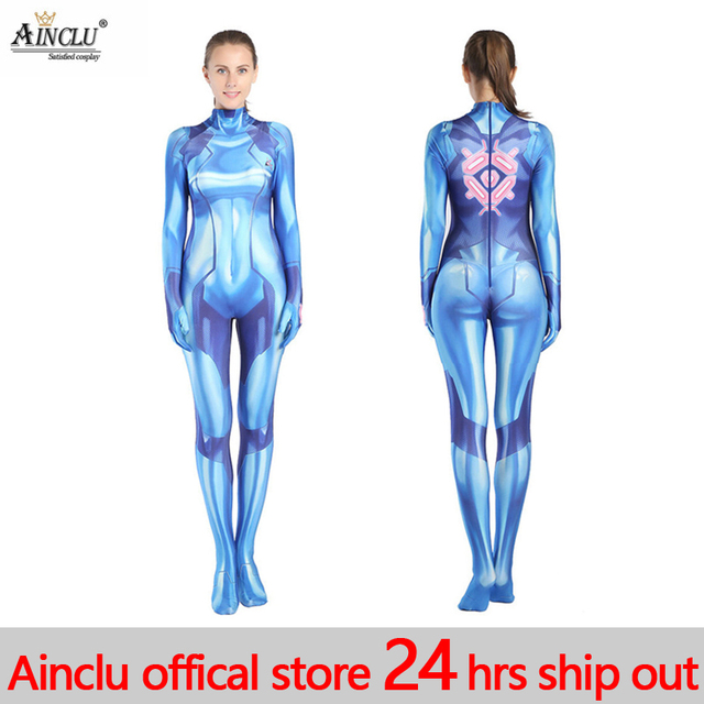 9e10afd37898 Sexy Women's Samus Aran Costume Game Zentai Catsuit bodysuit adult Kids  Super Hero Halloween 3D Print Costumes cosplay Jumpsuits