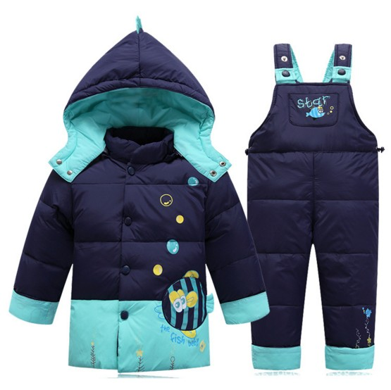2017 Winter Children  Clothing Set Kids Suit Overalls for Baby Girls boys fish Warm Snowsuits Jackets+bib Pants 2pcs/set  dress russia winter children winter down sets kids ski suit overalls baby girls boys down coat warm snowsuits jackets bib pants set