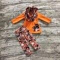 Девушки Зимней одежды 3 шт. с шарфом устанавливает Хэллоуин одежда childreng призрак брюки оранжевый топ с бу одежды