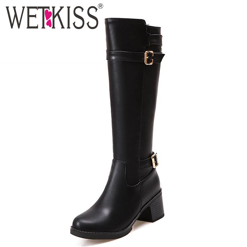 WETKISS Big Size 34-43 Platform Thick Heels Knee Boots Cozy Solid Add Fur Fall Winter Boots Popular Zip Buckle Charm Women Shoes big size 34 43 vintage thick high heels platform ankle boots female fashion shoes woman buckle charm lace up fall winter boots
