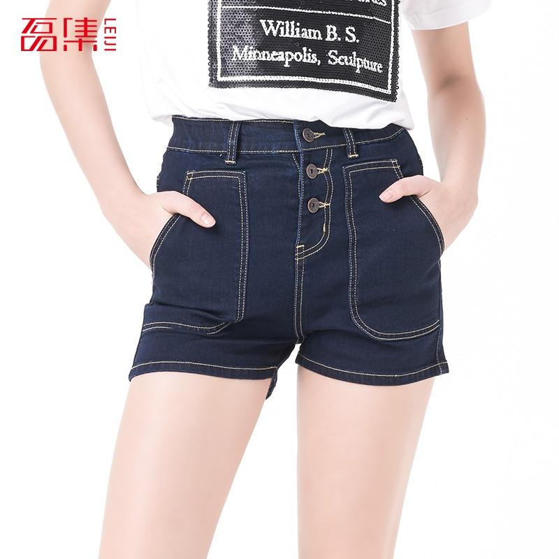 Leiji S- 6XL 2016 fashion blue Plus Size Women High Waist Denim Elastic Washed jeans Summer Style woman cotton shorts women s floral embroidery denim shorts 2017 summer fashion hight waist short jeans femme cotton shorts plus size xl e984