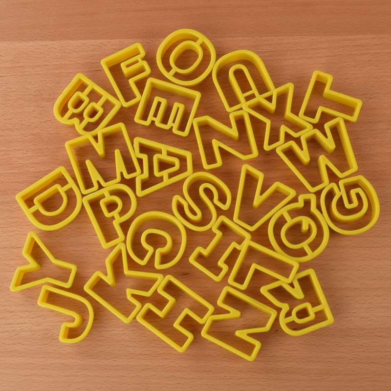 26pcs/set Letters Cookie Mould Plastic Sugar Fondant Cake Mold Biscuit Cutters Tools