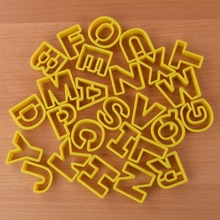 26pcs/set Letters Cookie Mould Plastic Sugar Fondant Cake Mold Biscuit Cookie Cutters Cookie Tools bakers ez way dragees silver sugar cake cupcake cookie sprinkles 2mm