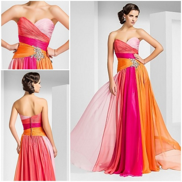 Whole Summer Holiday Beach A Line Sweetheart Floor Length Colorful Maxi Pink Orange Chiffon Best
