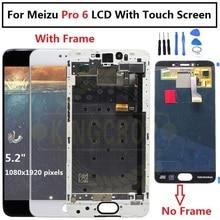 "5.2 ""Amoled Meizu Pro 6 M570M M570C M570Q M570h Display Lcd con Touch glass Digitizer Frame assembly sostituzione Meizu pro 6s"