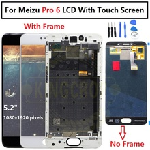 "5.2""Amoled Meizu Pro 6 M570M M570C M570Q M570h Lcd Display with Touch glass Digitizer Frame assembly replacement meizu pro 6s"