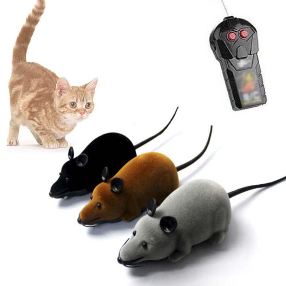 3 Colors Wireless Remote Control Mouse Toy Interactive Plush Electronic RC Rat Mice RC Mouse Fake Animal Trick Toy Funny  Toy