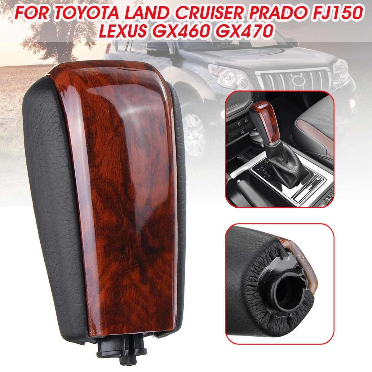 PU Leather Car AT Gear Shift Knob Gear Stick Shifter Lever For Toyota Land Cruiser Prado FJ150 For Lexus GX460 GX470