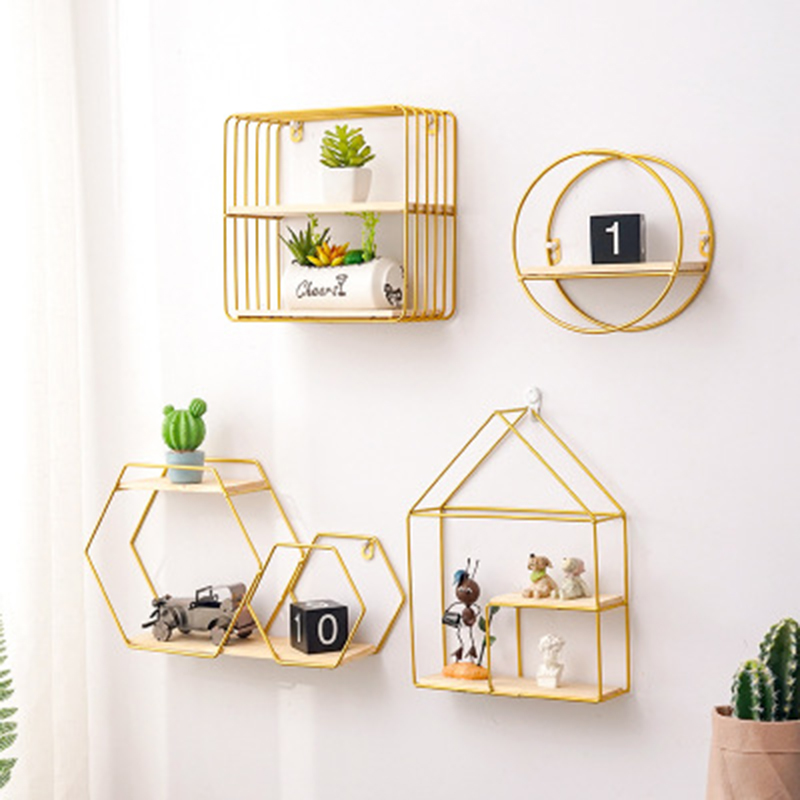 Nordic Iron Rectangle Grid House Shape Storage Rack Shelf Wall Hanging Geometric Figure Home Wall Decoration Decorative Shelf
