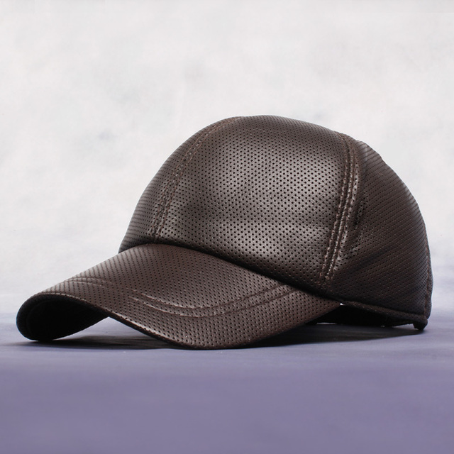 Male Korean Version Pu Leather Baseball Caps Men Perforated Mesh Hats Adult Dome Flat Eaves Snapbck Hat
