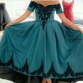 Young Green Off the Shoulder Sweetheart Appliqued Short Front Long Back Homecoming Dresses