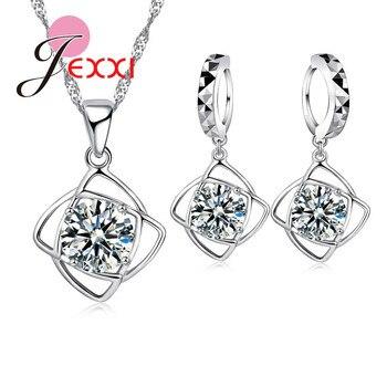 Brillante conciso 925 plata esterlina Zirconia cúbica colgante collar gota pendiente Juegos de joyas para mujer mejor G