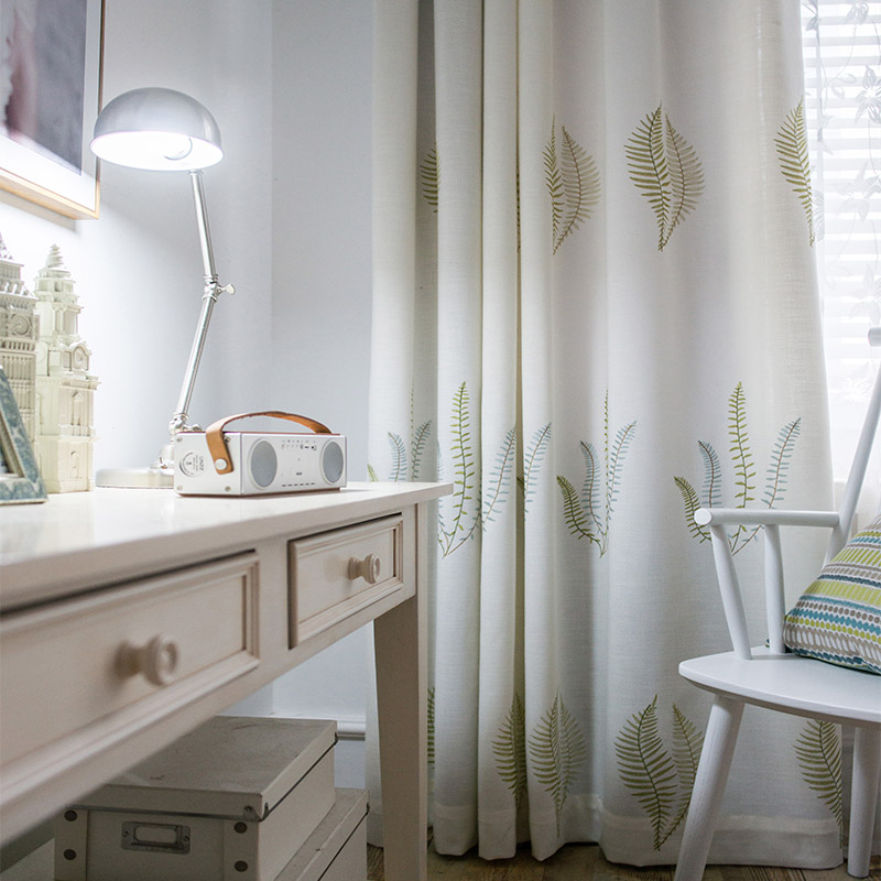 Embroidered Cotton Curtains for Bedroom American Green Leaf Drapes Cortinas for Living room Window Shading Panel Custom Size in Curtains from Home Garden