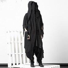 Темное пальто-плащ, индивидуальное пальто для ночного клуба, Мужское пальто в готическом стиле, поддельные две части коленей, Мужской плащ, куртка, длинное пальто