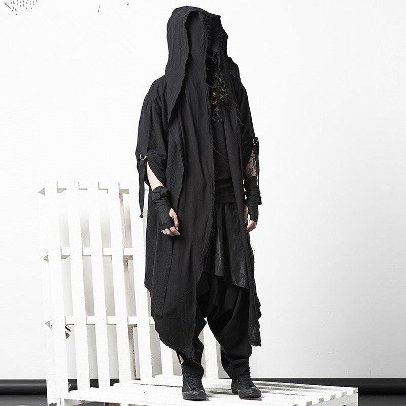 Темно-плащ пальто личность ночной клуб пальто мужской прилив Готический поддельные две части колена халаты Мужчины s Тренч пальто куртка дл...