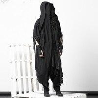 Темно плащ пальто плащ для выражения личности Гонконг ночной клуб мужской прилив Готический поддельные две части колена халаты