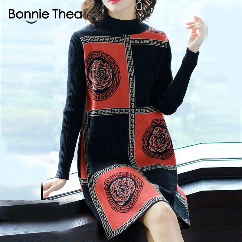 Bonnie Thea femmes hiver col roulé pull robe femme élégant noir tricot robe de soirée vestido dame automne robes 2018