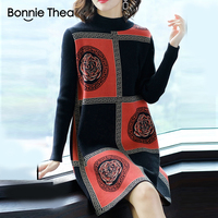 Bonnie Thea women winter Turtleneck Sweater dress female Elegant black knitting party dress vestido lady autumn dresses 2018
