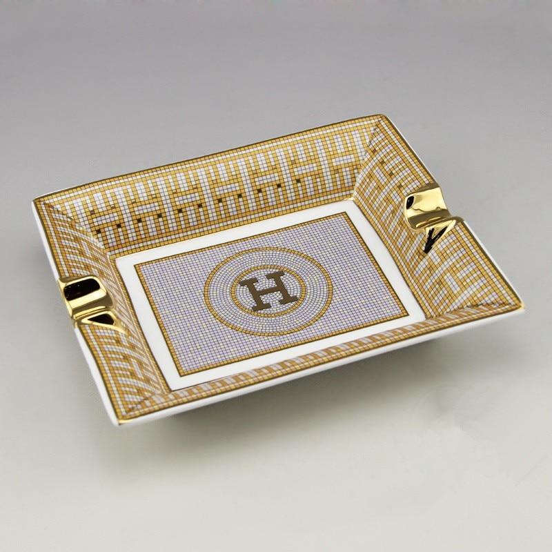 Luxury Gadgets High-end Mosaic Circle H Pattern 2 Holder Ceramic Bone China Cigar Ashtray Free Shipping