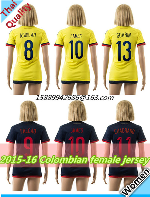 a9e2d613d 15 16 Colombian female soccer jerseys Top Thailand quality colombia home  and away women jersey JAMES shirt Free shipping