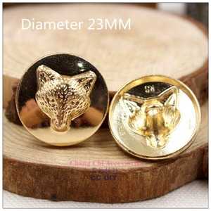 1572110,23mm 10 pcs, Gold metal buttons,classic fashion Fox buttons clothes clothes-diy handmade materials(China)