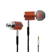 Original Brand MSUR C210 In-Ear Earphone Wood Earphone Bass HIFI Fever DIY Wooded Earphone With Mic Universal Retro Earphone