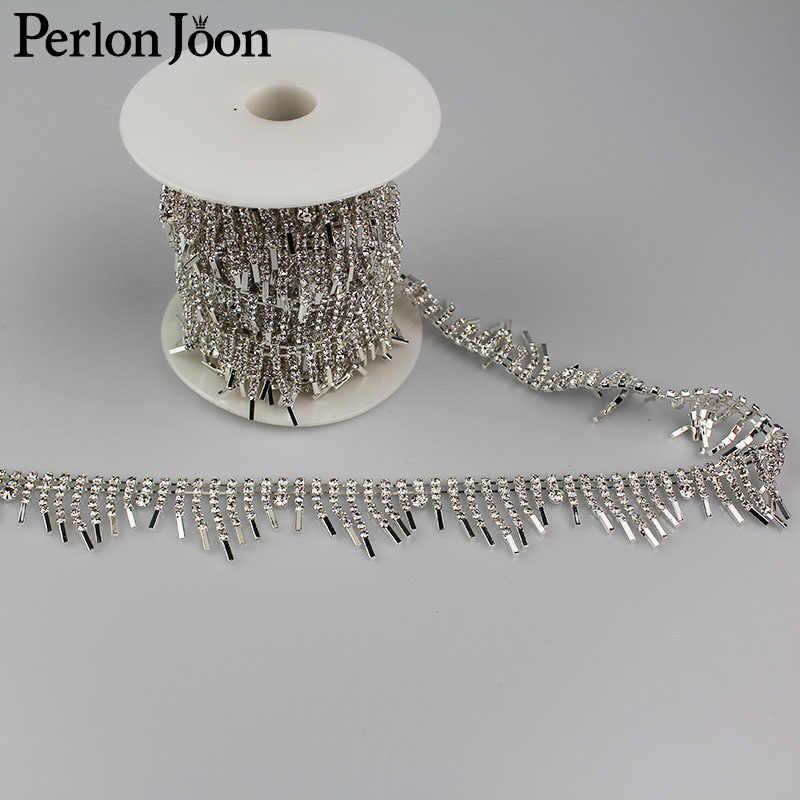... 5yards Crystal tassel Trimming Motif Rhinestone trim Chain for Wedding  Dress Decoration Appliques sew on Clothing 8a6c31f5764d