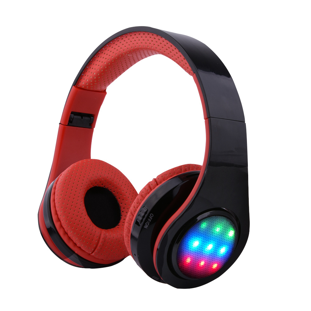 Wireless Luminous Headphones Big Stereo Headset with illumination Lights Audifonos S956 TF-AUX-FM-MIC for Iphone PC and andriod earfun brand big headphones with mic