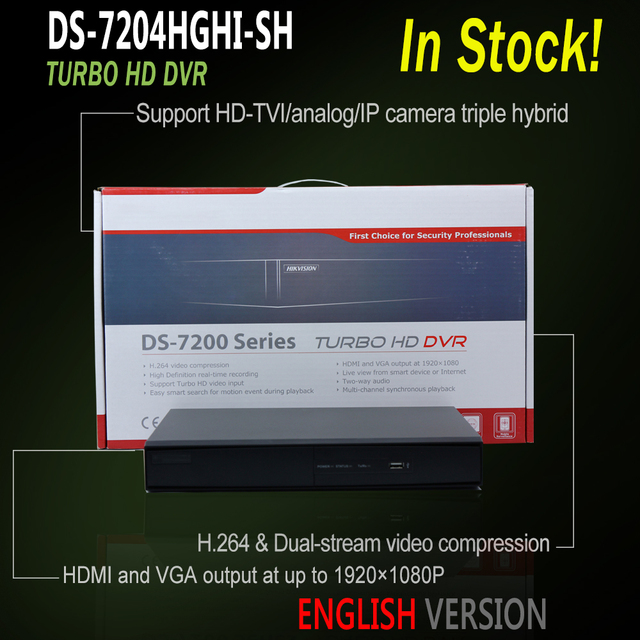 Hikvision English Version DS 7204HGHI SH 4CH Turbo HD DVR HDMI and VGA  output TVI BNC 720P CCTV Security dvr recorder 1SATA -in Surveillance Video