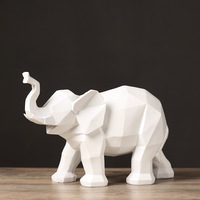 Nordic Abstract origami geometric elephant ornaments Resin Figurines Lucky Miniature Display Decor Crafts Feng Shui Decoration