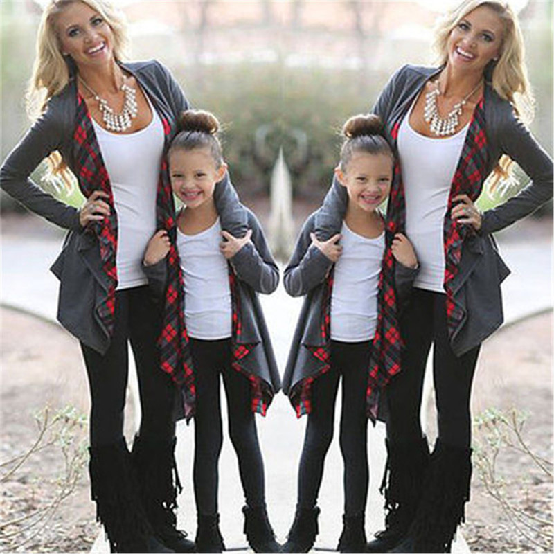 Family Matching Jacket Outfits Sweater Cardigan Long-Sleeve Mommy Outwear Me And Autumn