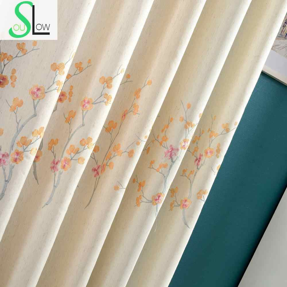 Plum Flower Coffee Purple Orange Floral Embroidered Exquisite White Curtains Cortinas For Living Room Bedroom Curtain Modern Curtain Rope Curtain Treatmentscurtains Etc Aliexpress