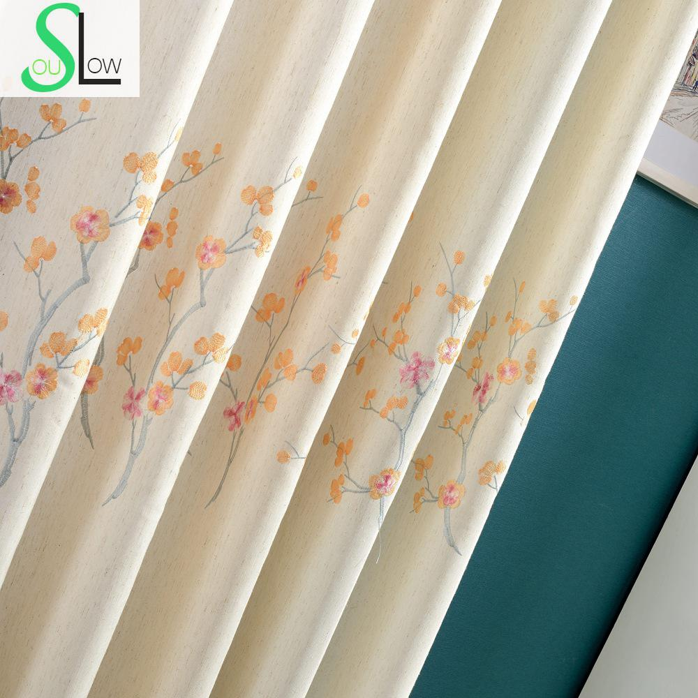 Plum curtains - Plum Flower Coffee Purple Orange Floral Embroidered Exquisite White Curtains Cortinas For Living Room Bedroom Curtain Modern