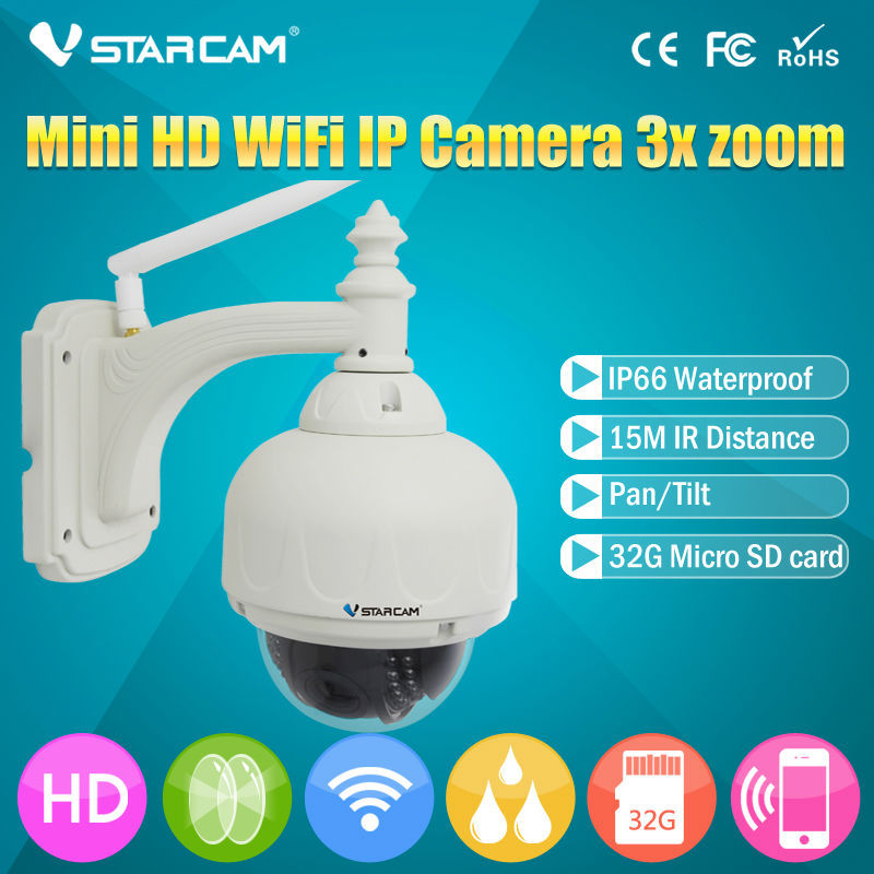 imágenes para Vstarcam onvif cámara ip inalámbrica al aire libre hd 720 p wifi domo ptz de Seguridad CCTV Con 4 Soporte 128G Tarjeta SD de IP de Zoom Óptico Cam