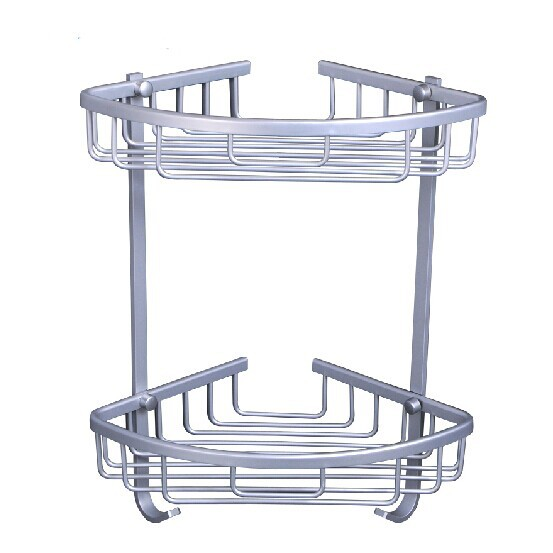 Aluminum alloy Dual tier bathroom shelf blasket bathroom shelf wall ...