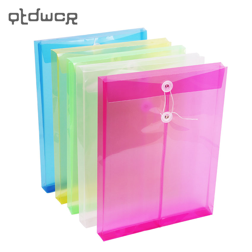 1PC Fashion A4 Office File Bag Button Closure Folder Bag Transparent Plastic File Folder Office Stationery Supply