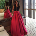 Long Prom Dress 2017 V Neck Beaded Ball Gown Satin Evening Party Dress For Graduation Backless Vestido De Festa Longo De Luxo