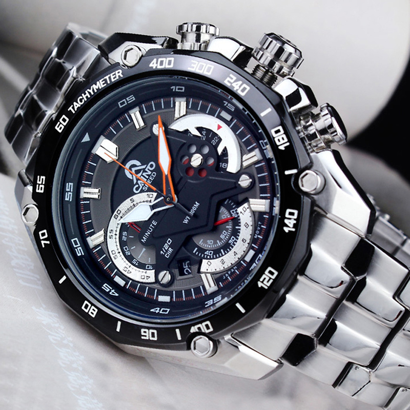 купить CAINO Men Luxury Top Brand Full Steel Business Watches 100M Waterproof Sports Chronograph Date Clock Fashion Quartz Wrist Watch онлайн