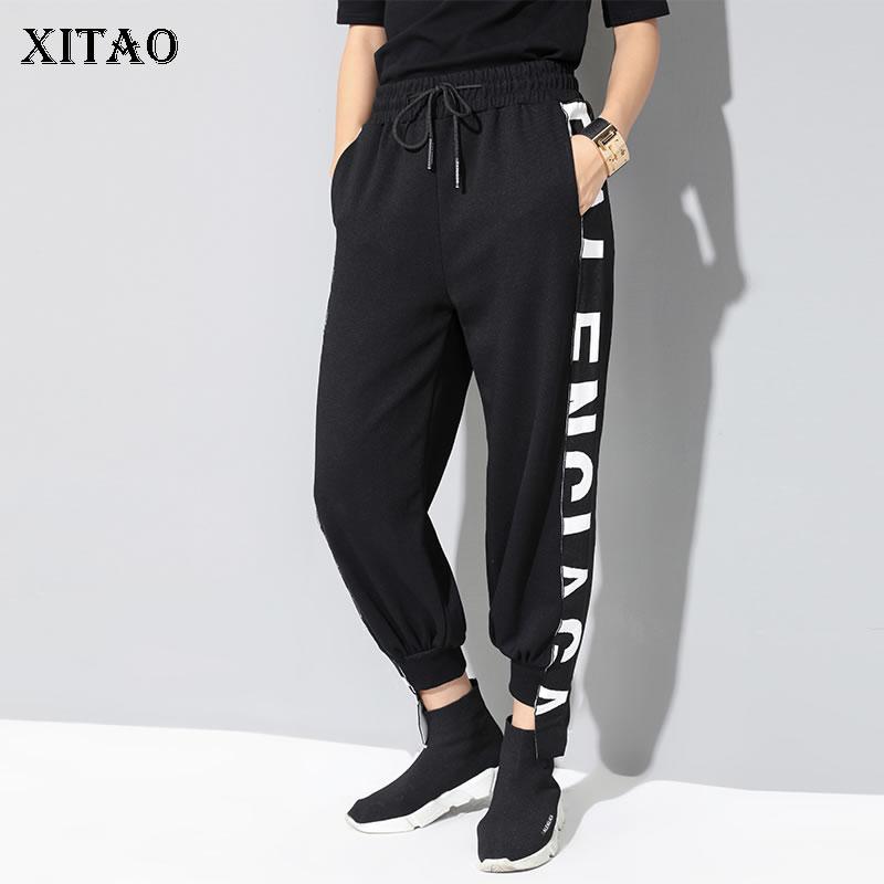 [XITAO] 2019 Spring New Korea Fashion Casual Flat Wide Leg Pants Female Letter Elastic Waisted Loose Ankle-length Pants WBB2672