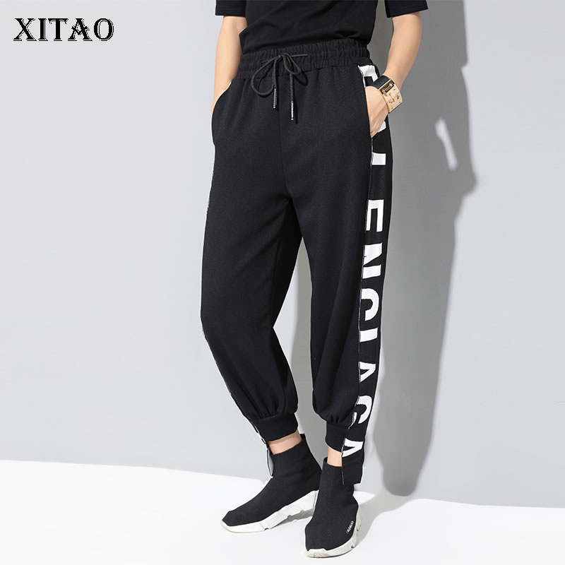 [XITAO] 2019 Spring New Korea Fashion Casual Flat Wide Leg Pants Female Letter Elastic Waisted Loose Ankle-length Pants WBB2672