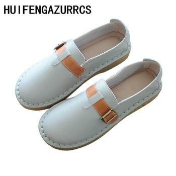 HUIFENGAZURRCS-Super Soft Bottom Comfortable Literary Bull Tendon sole Women's Shoes,Handmade Art Leather Leisure Women's Shoes