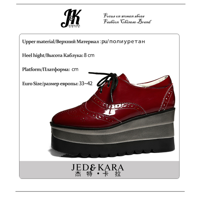 142ddd069fe ... Big Size 34-42 2017 Brand Platform Shoes Women Lace up Casual Pumps  Wedges Heeled Spring burgundy Square toe Brogue Shoes. Previous