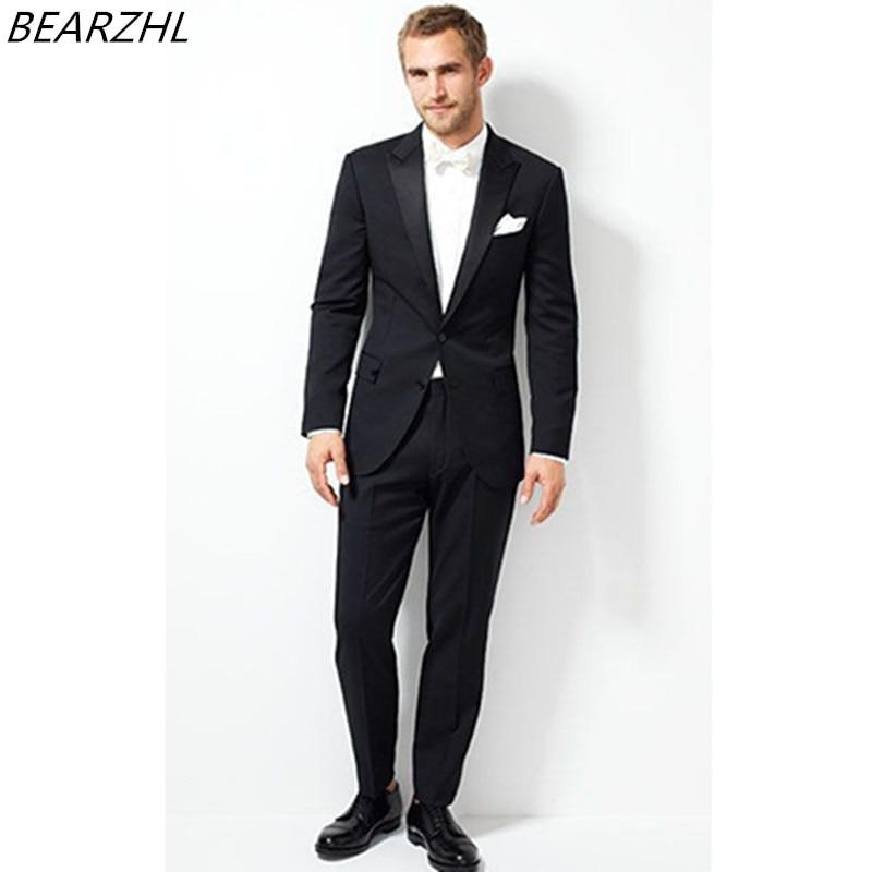65cca89ff2 US $135.0 |Su misura abiti da uomo con i pantaloni di nozze dello sposo  smoking nero abiti da cerimonia 2019-in Completi uomo da Abbigliamento da  uomo ...