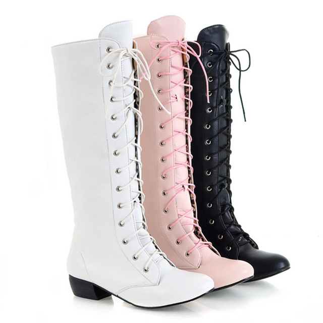 Aliexpress.com : Buy White Lace Up Thigh High Boots Women Winter ...