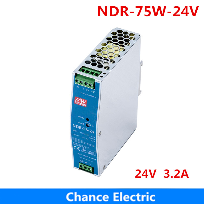 75W 24V MEAN WELL Power Supply NDR-75-24 meanwell 3.2A 75.W Single Output Industrial DIN Rail Switching Power Supply dr 75 12 din rail 75w 12v single output switching power supply din rail 12v 75w
