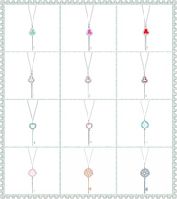 SHINETUNG TIFF original 100% 925 sterling silver multicolor love key pendant necklace has logo1:1 female high quality gifts