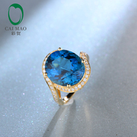 14kt Yellow Gold 9 68ct Large 12x14mm Oval Cut Blue Topaz H SI Diamond Engagement Ring