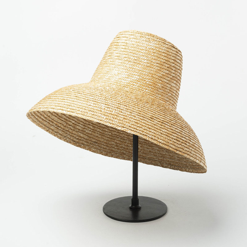 New Popular Lamp Shape Sun Hat For Women Big Wide Brim Summer Beach Hat Ladies High Top Straw Hat UV Protection Derby Travel Hat