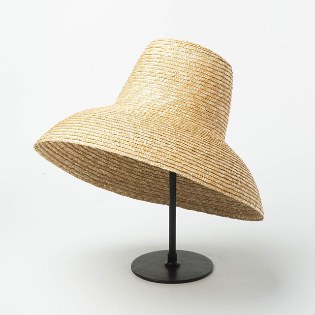 3a047d65c53d New Popular Lamp Shape Sun Hat for Women Big Wide Brim Summer Beach Hat  Ladies High Top Straw Hat UV Protection Derby Travel Hat